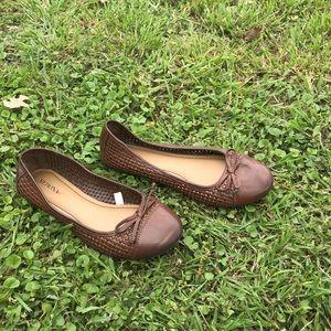 Brown slip on flats